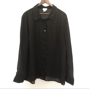 Jaclyn Smith Sheer Blouse with Rhinestones
